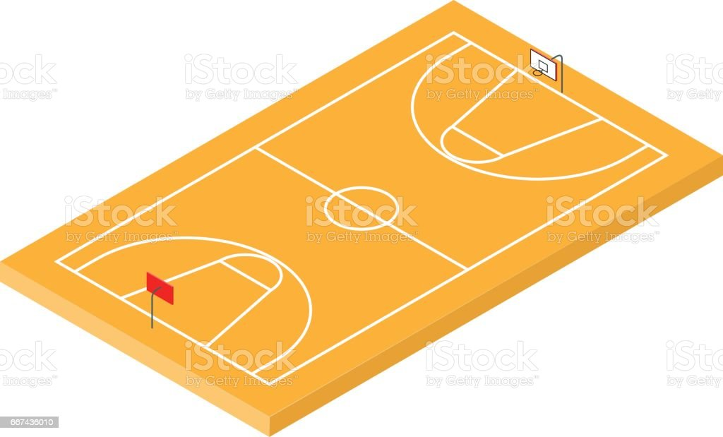 Isometric Basketball Court icon vector art illustration