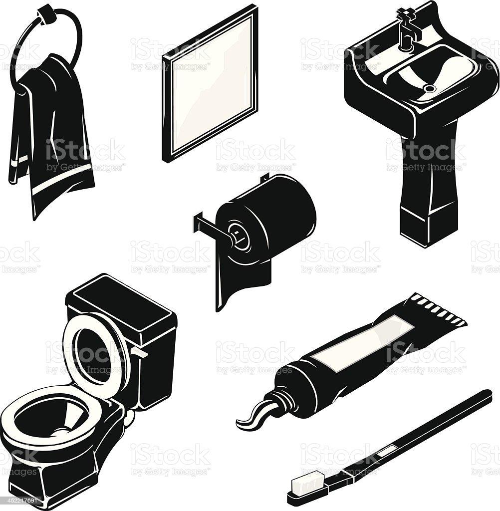 Isometric Bathroom Icon Set royalty-free stock vector art