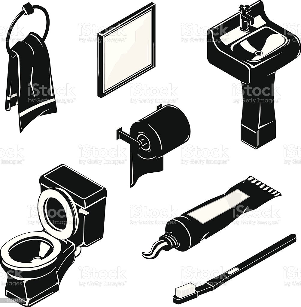 Isometric Bathroom Icon Set vector art illustration