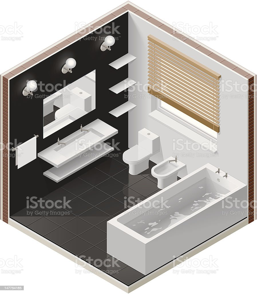 Isometric bathroom icon vector art illustration