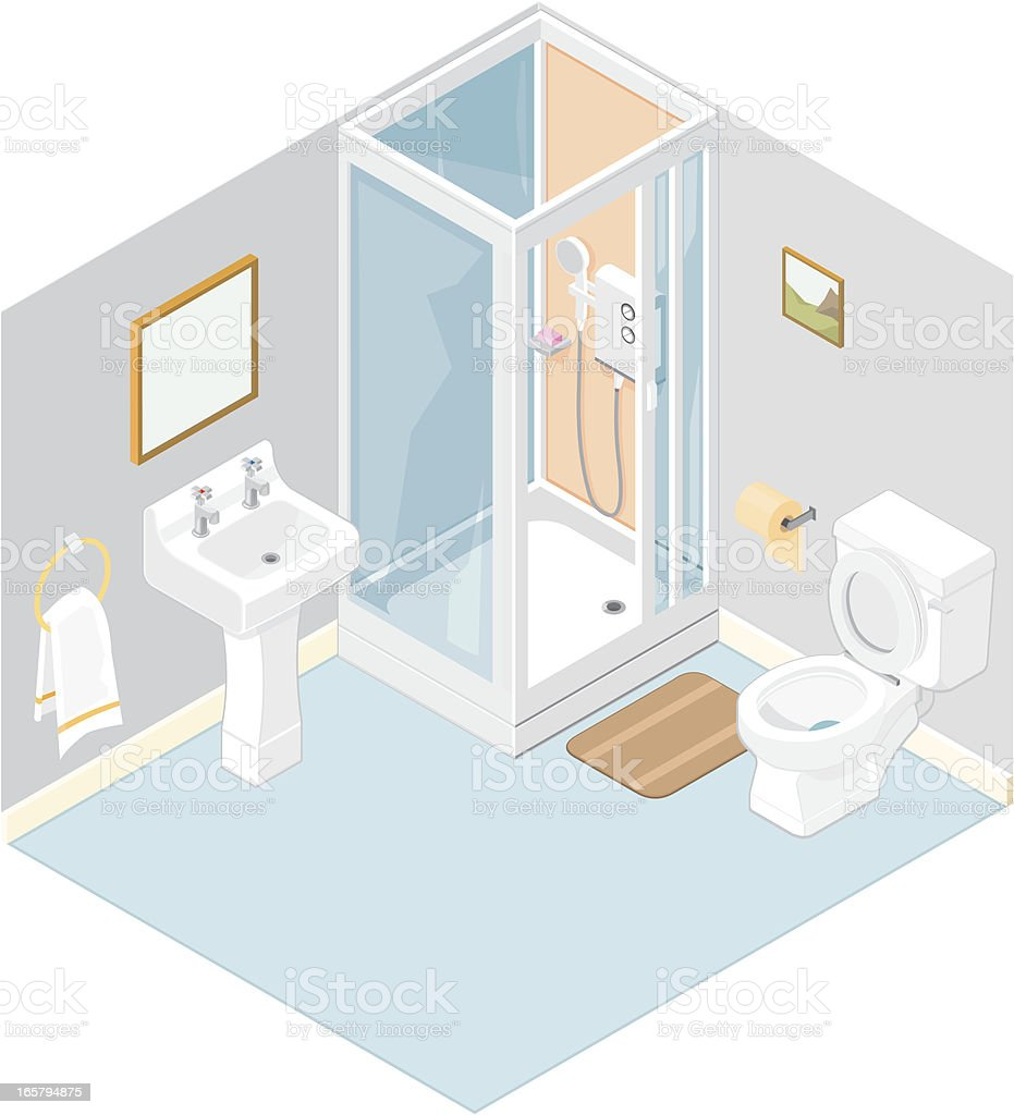 Isometric Bathroom vector art illustration