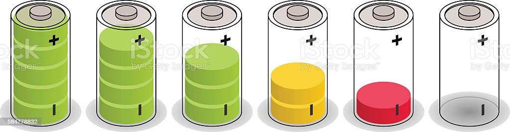 isometric batteries vector art illustration