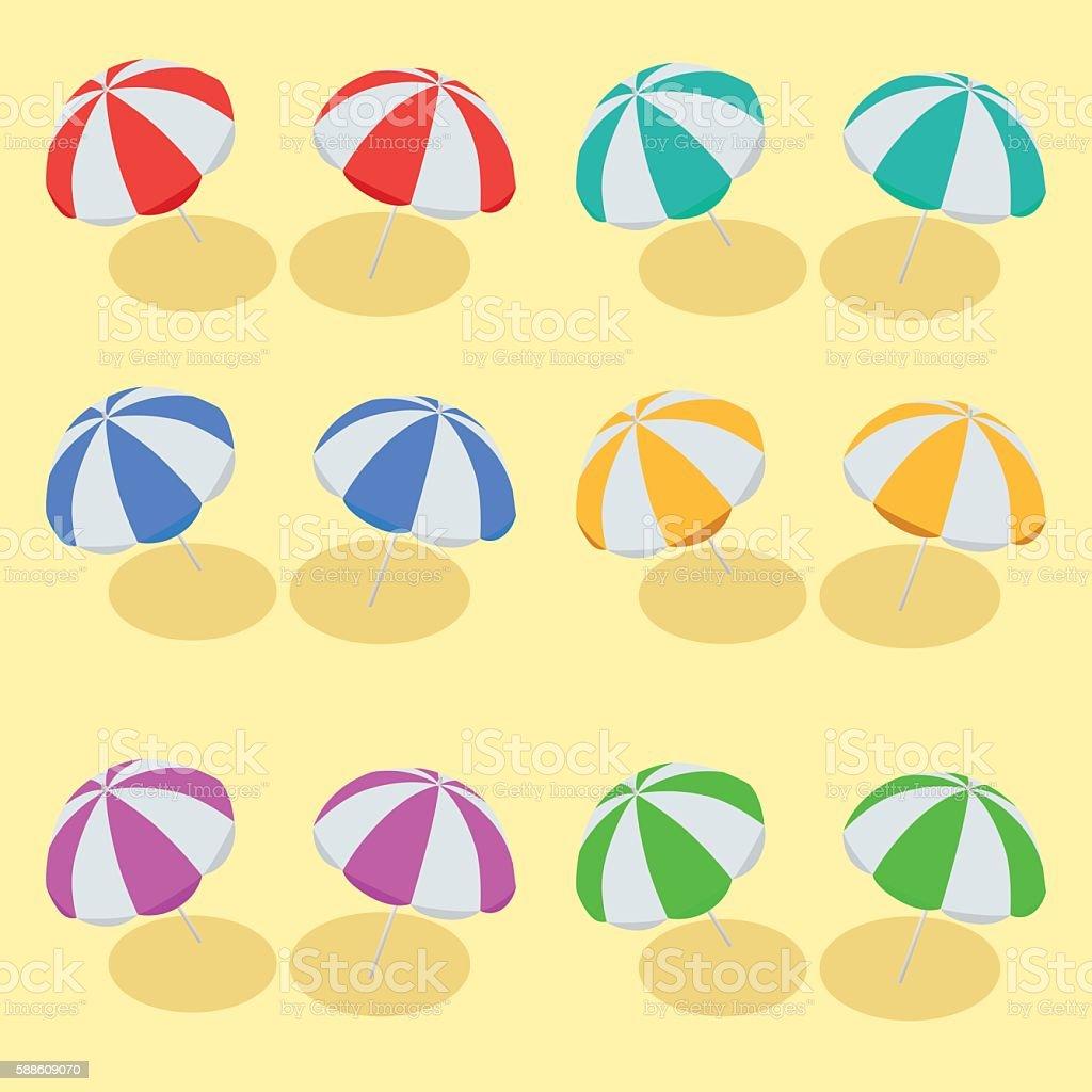 Isometric Beach Umbrella set vector art illustration