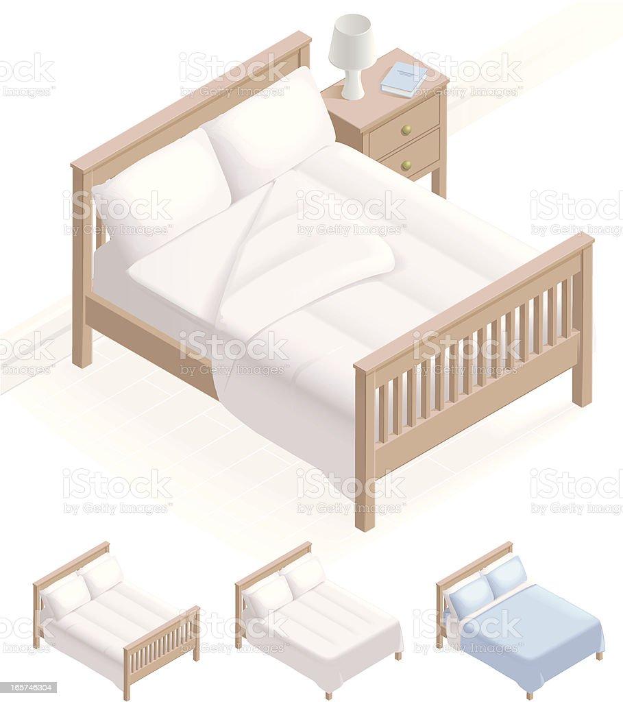 Isometric Bed & Bedding vector art illustration