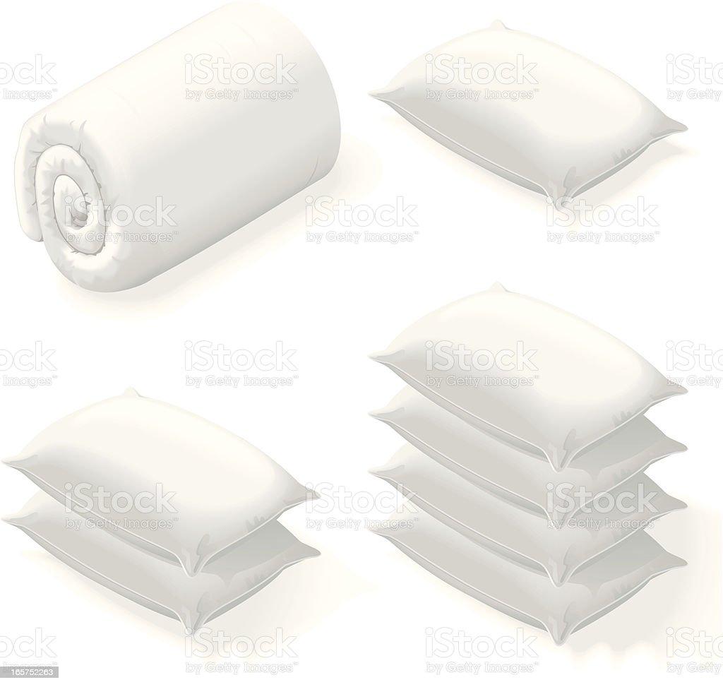 Isometric bedding vector art illustration