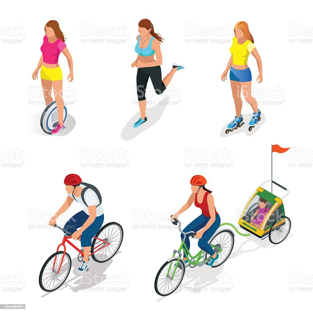 Isometric Bicycle. Family Cyclists. Roller Skating girl. vector art illustration
