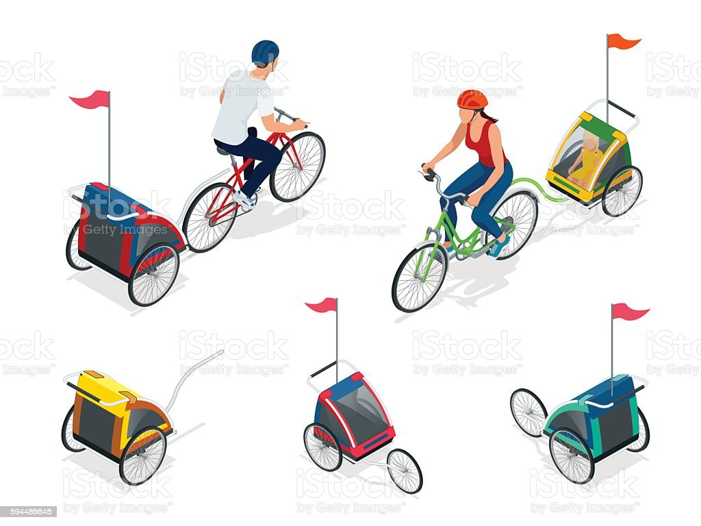 Isometric Bicycle with Kids Bike Trailer. vector art illustration