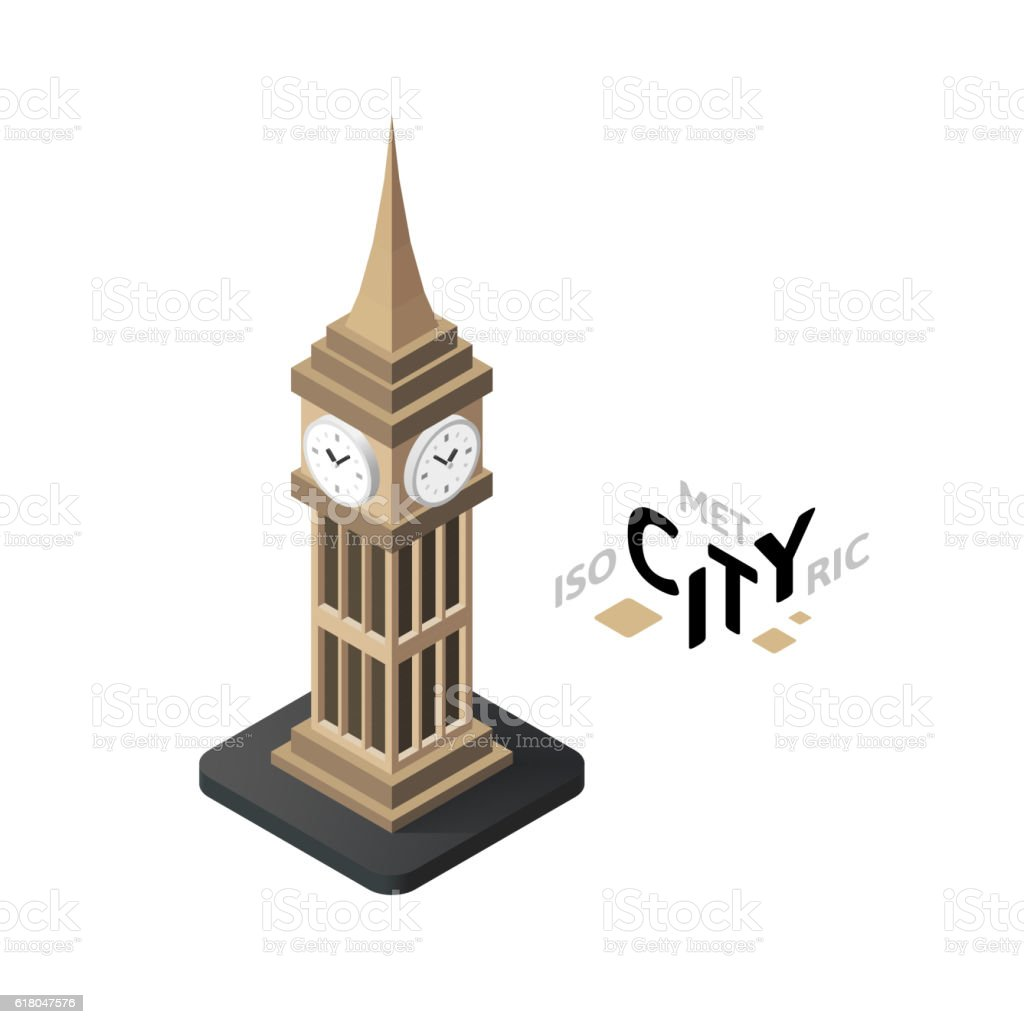 Isometric big ben icon, building city infographic element, vector illustration vector art illustration