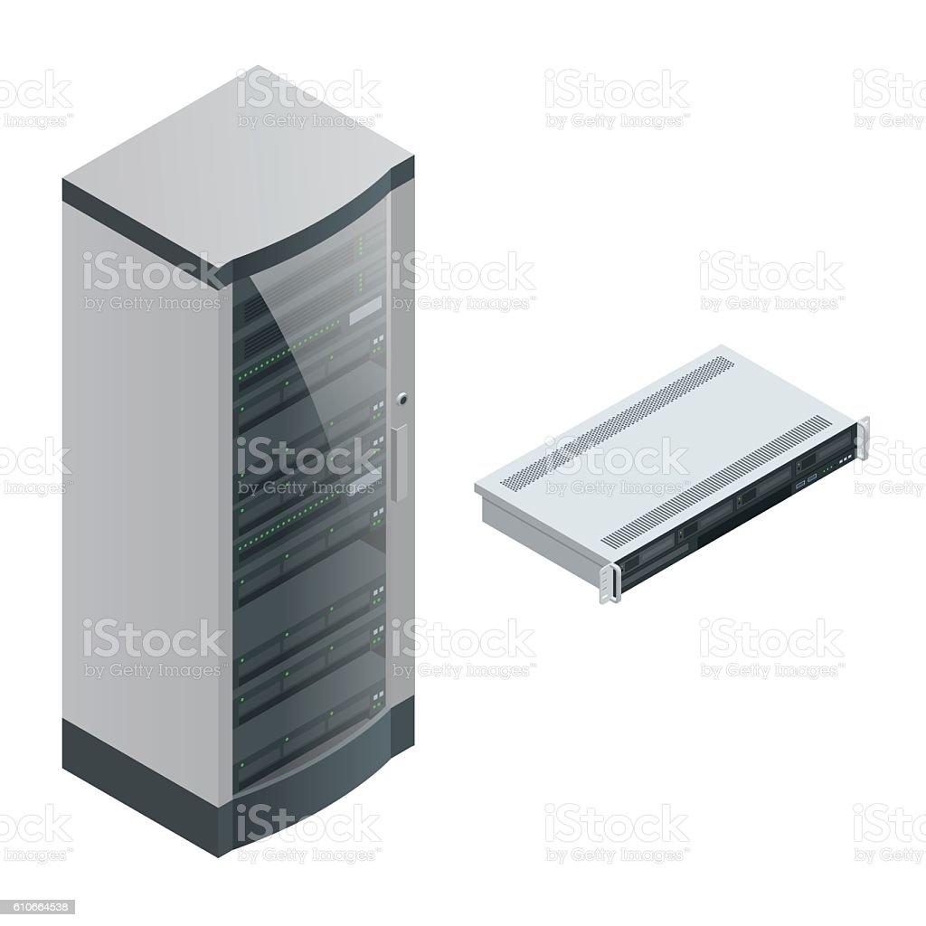 Isometric big data storage and cloud computing computer service vector art illustration