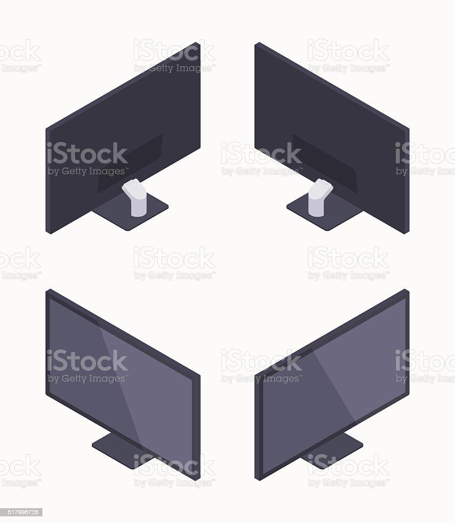 Isometric black HD monitor vector art illustration