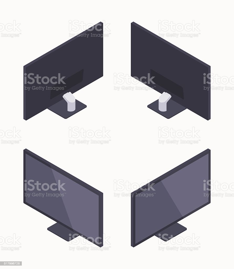 Isometric black HD monitor vector art illustration