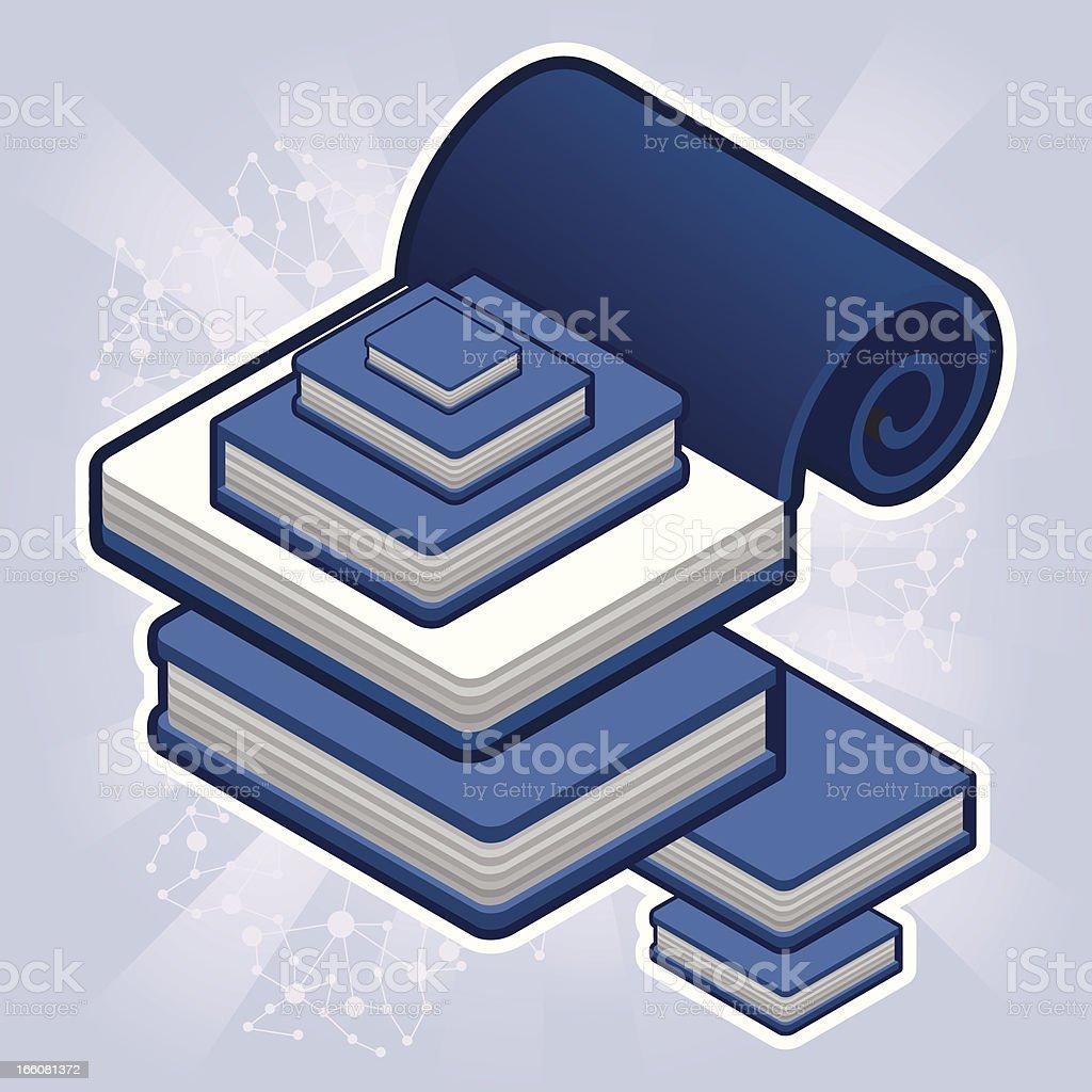 isometric blue books royalty-free stock vector art