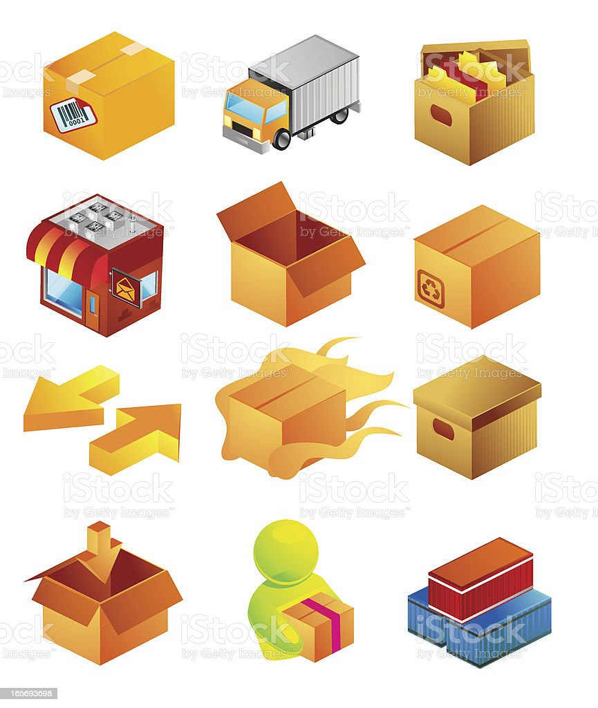 Isometric Boxes and Delivery vector art illustration