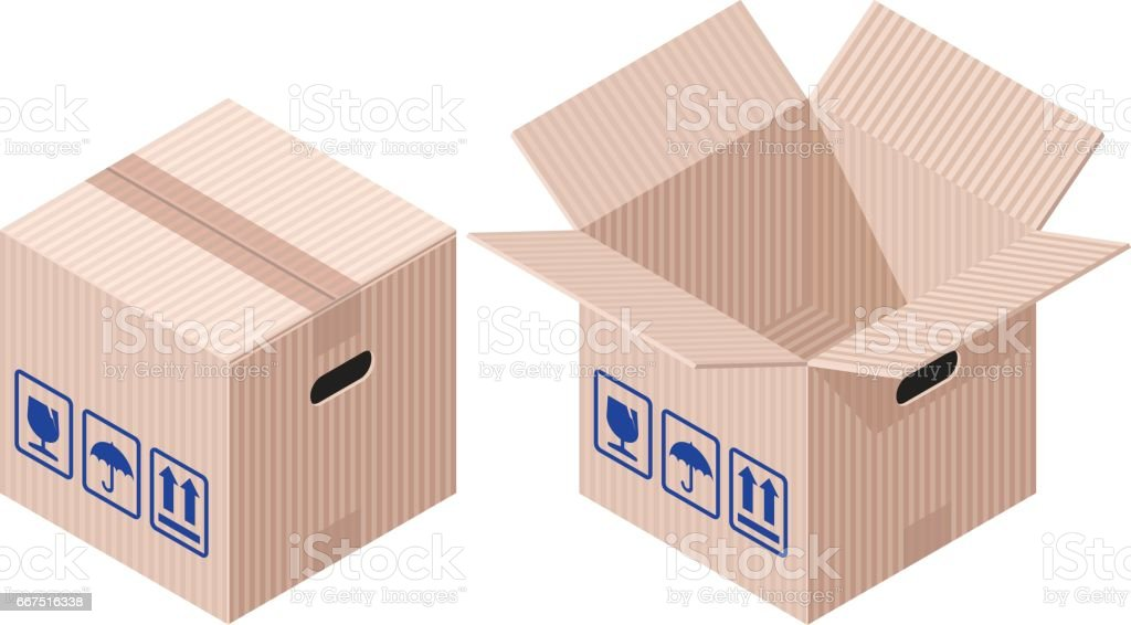 Isometric Boxes vector art illustration