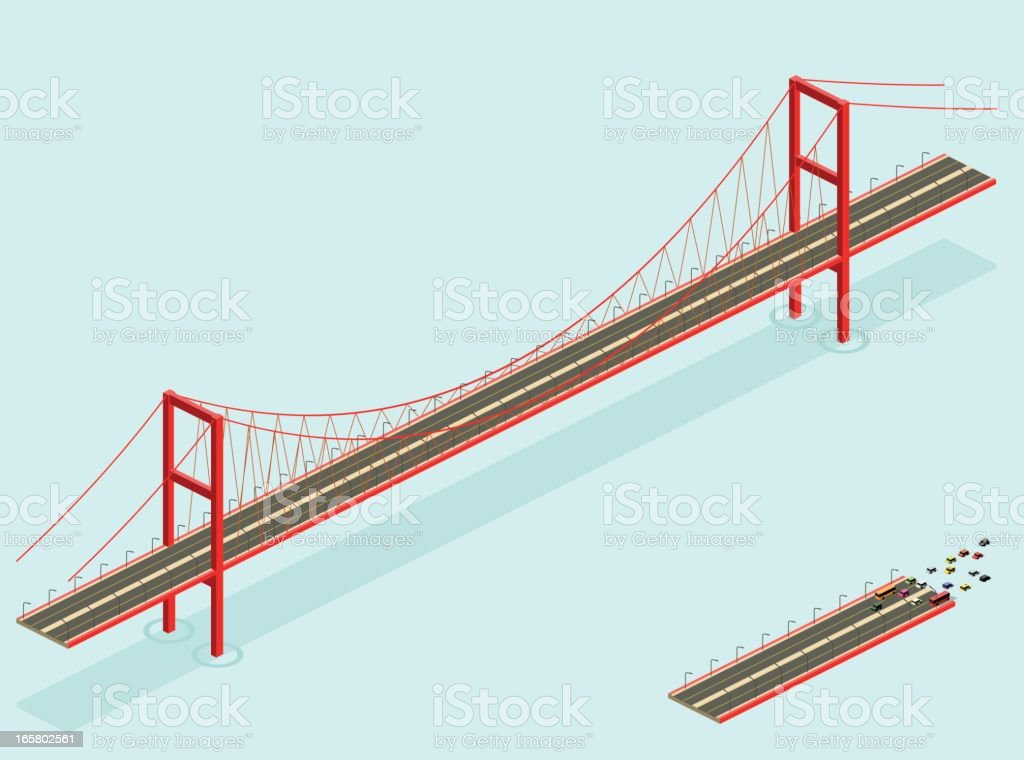 A cartoon image of a large and small bridge vector art illustration