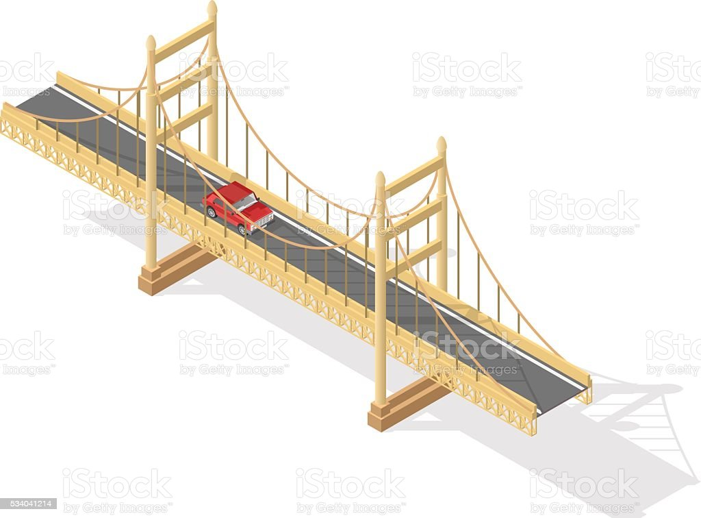 Isometric Bridge. vector art illustration