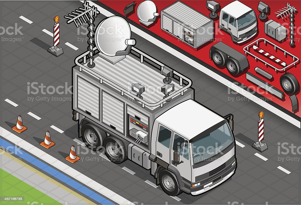 Isometric Broadcast TV Truck in Front View royalty-free stock vector art