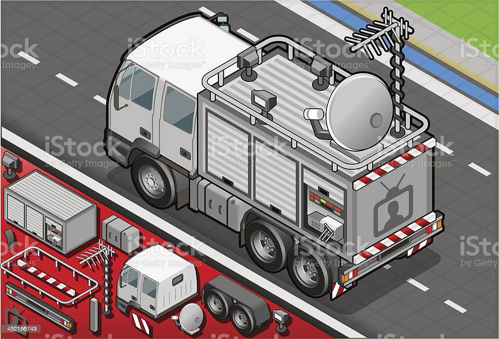 Isometric Broadcast TV Truck in Rear View royalty-free stock vector art