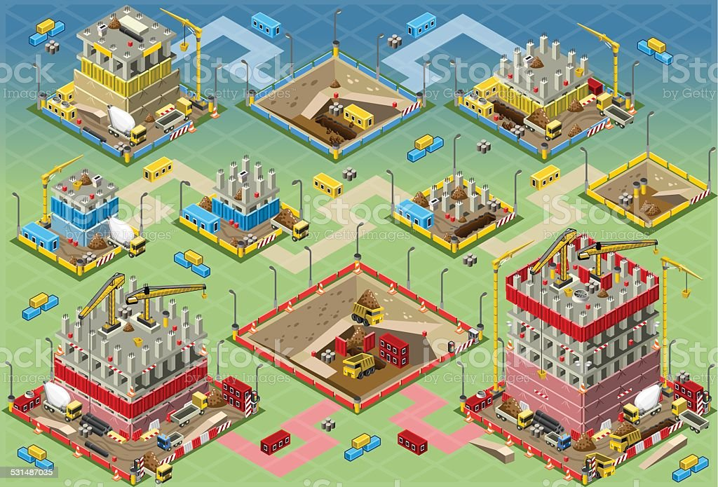 Isometric Building Construction Mega Set vector art illustration