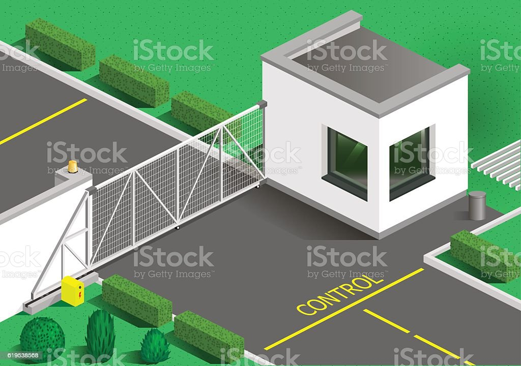 Isometric building guards vector art illustration