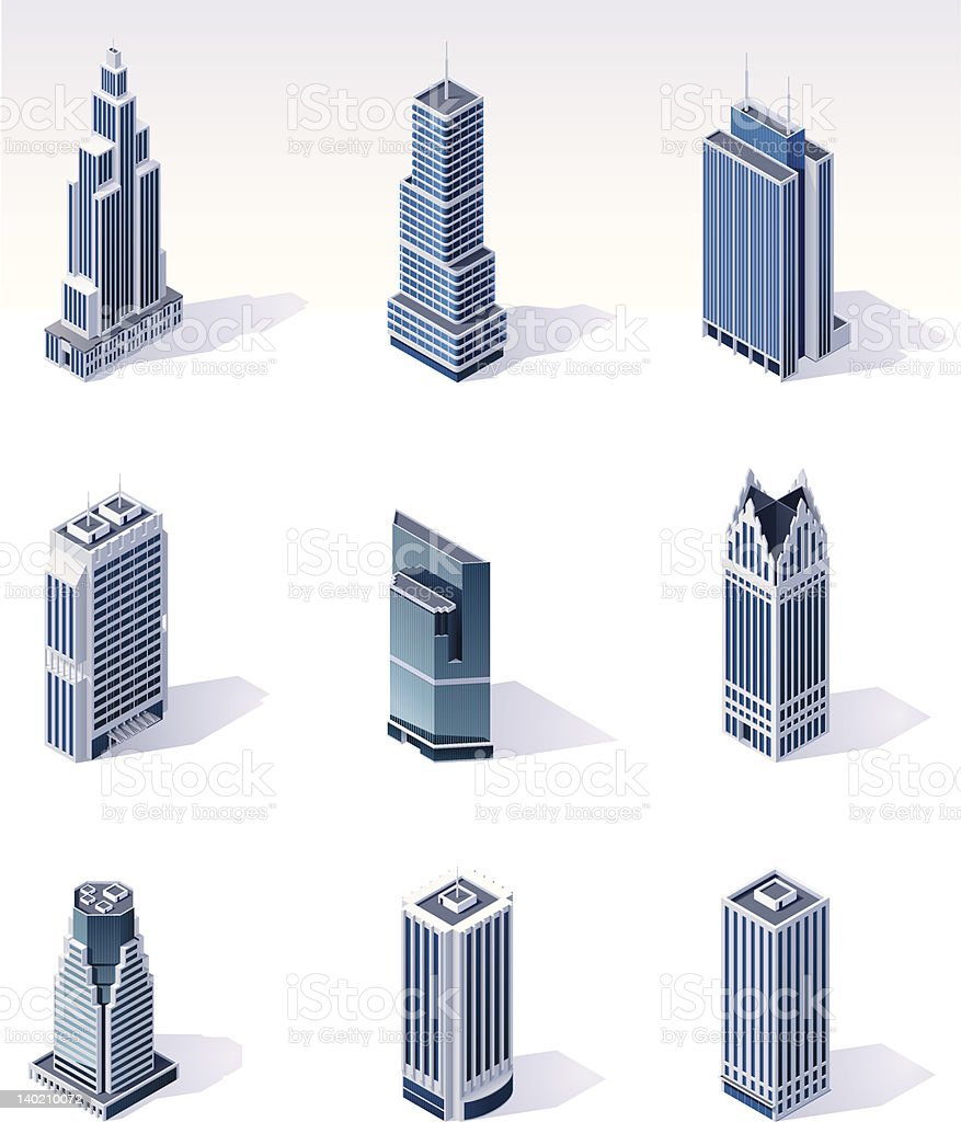 Isometric buildings. Skyscrapers royalty-free stock vector art