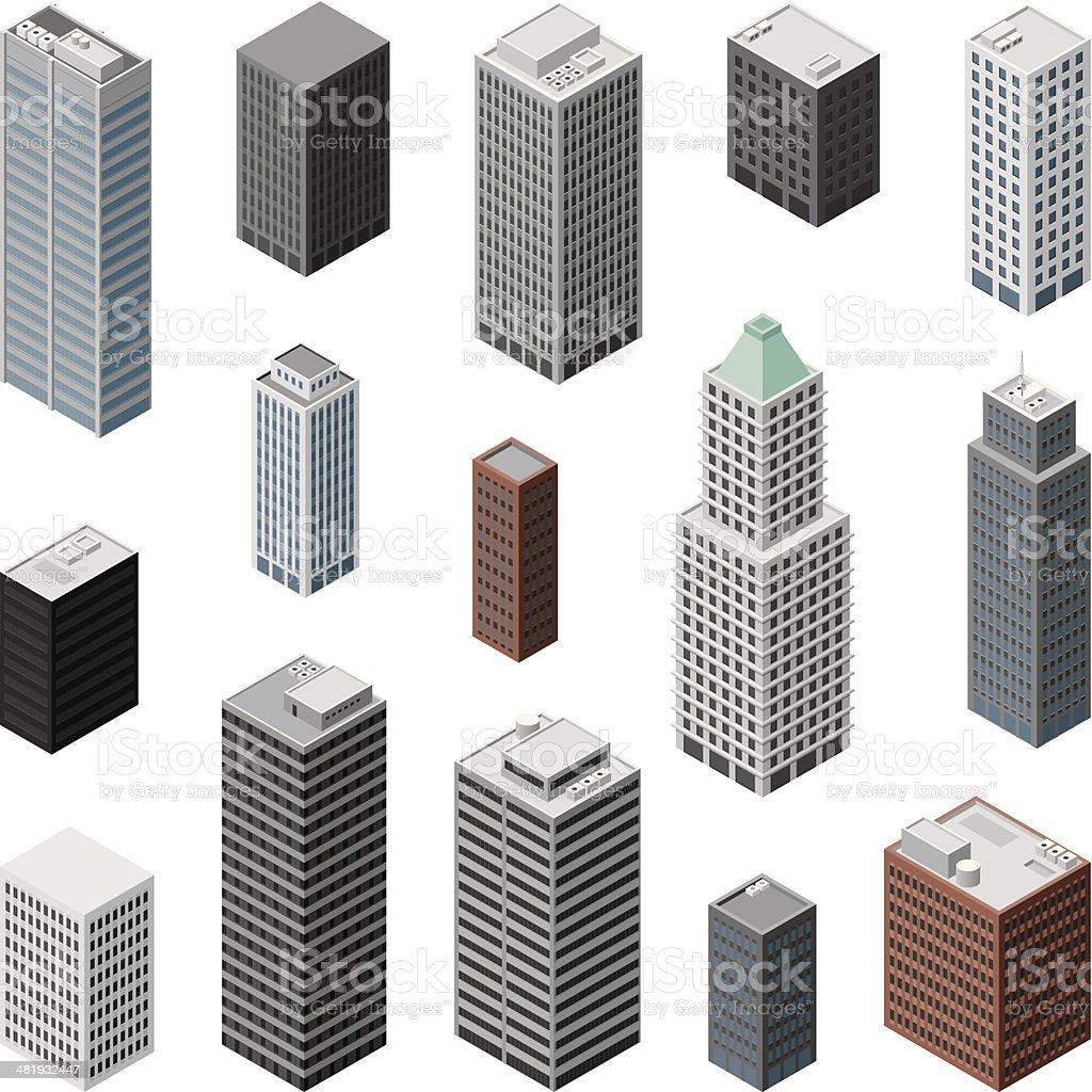 Isometric buildings vector art illustration