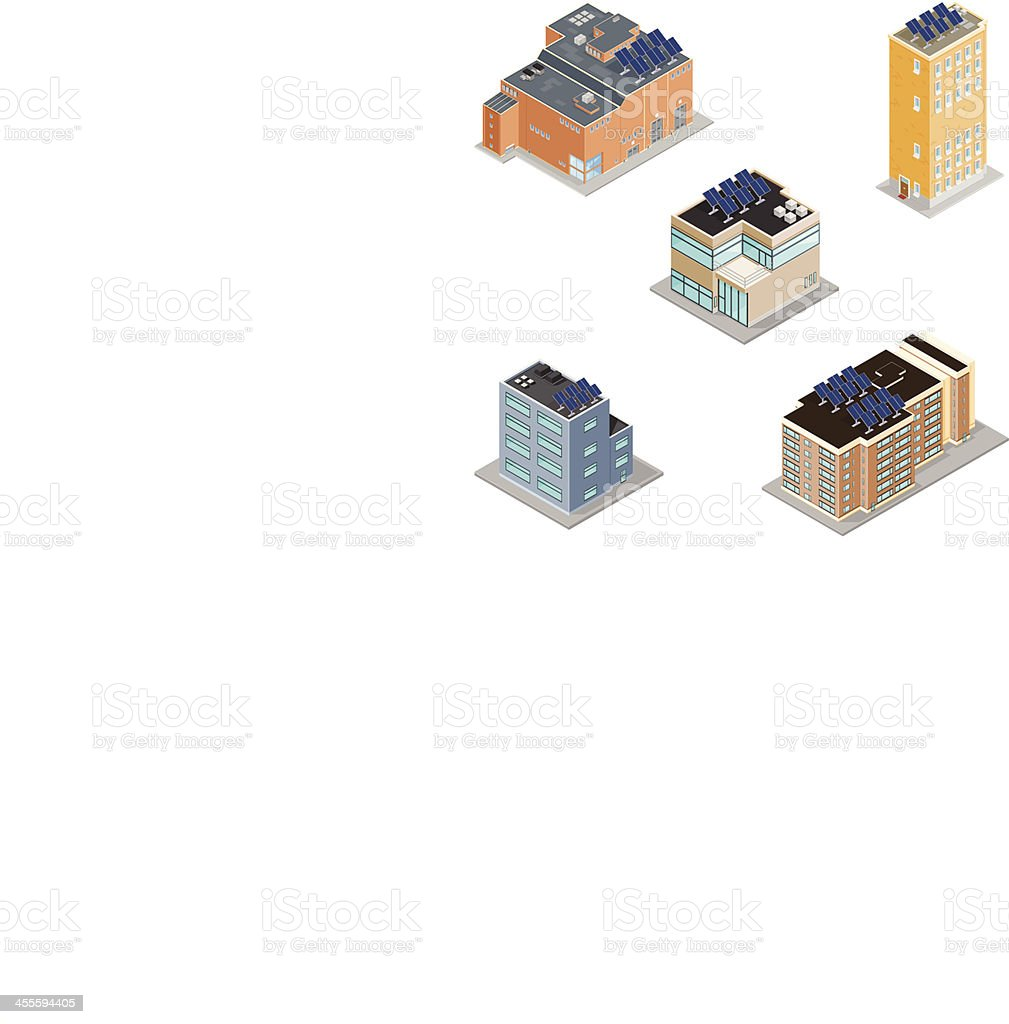 Isometric Buildings with Solar Panels vector art illustration