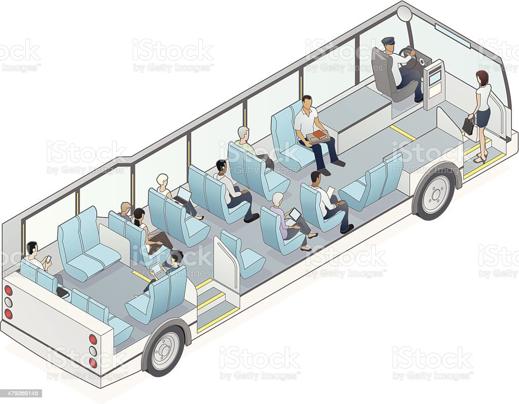 Isometric Bus Cutaway Illustration vector art illustration