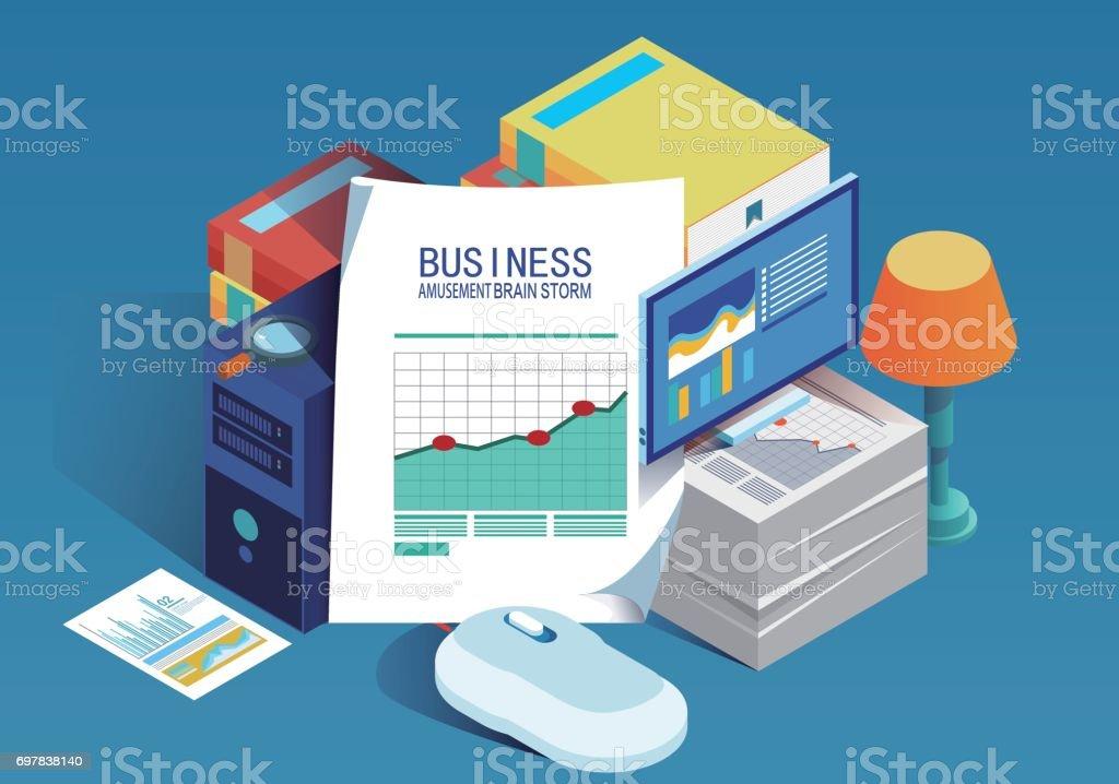 Isometric business data report vector art illustration