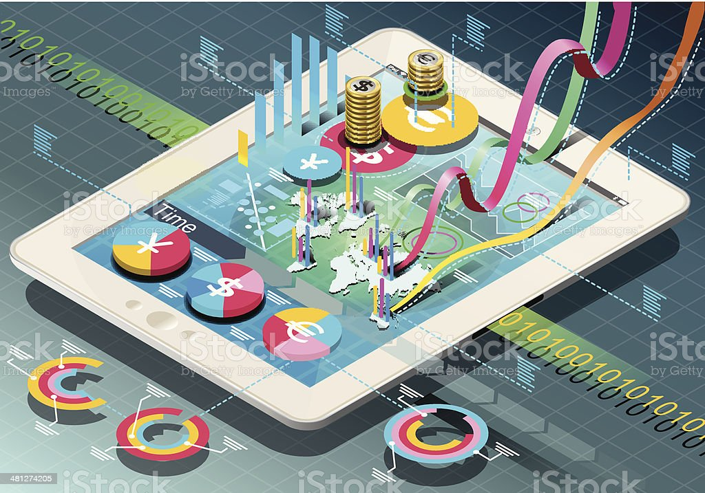 Isometric Business Infographic on Tablet vector art illustration