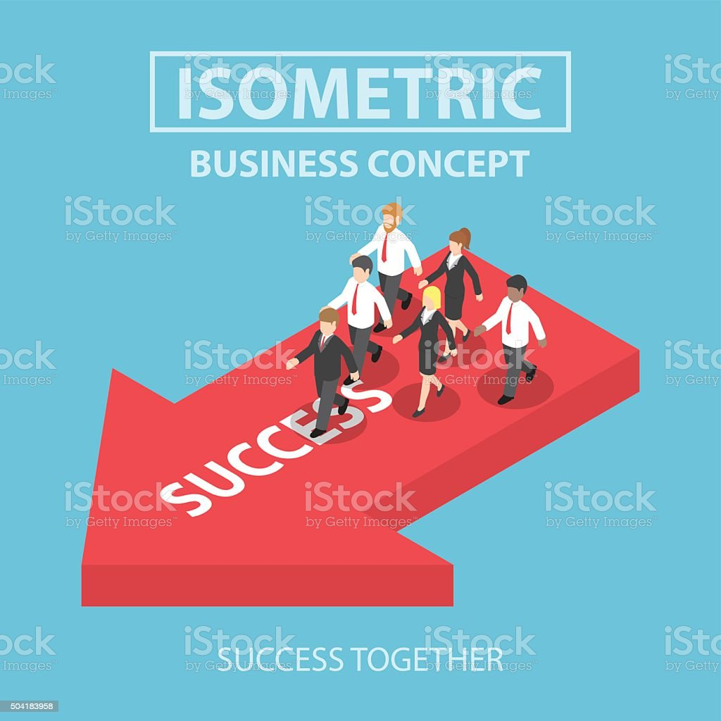 Isometric business leader bring his team to success vector art illustration