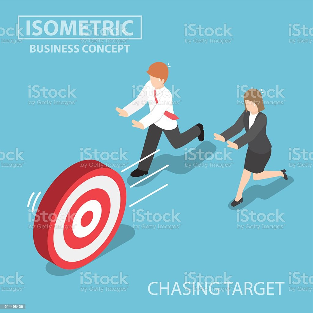 Isometric business people chasing the target vector art illustration
