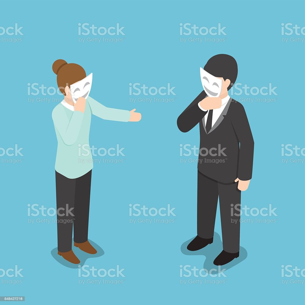 Isometric business people covering their face with smiling mask vector art illustration