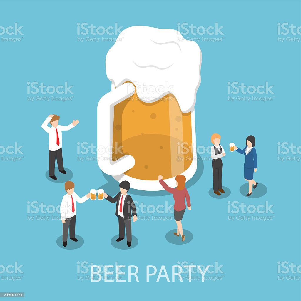 Isometric business people drinking beer and talking together in vector art illustration
