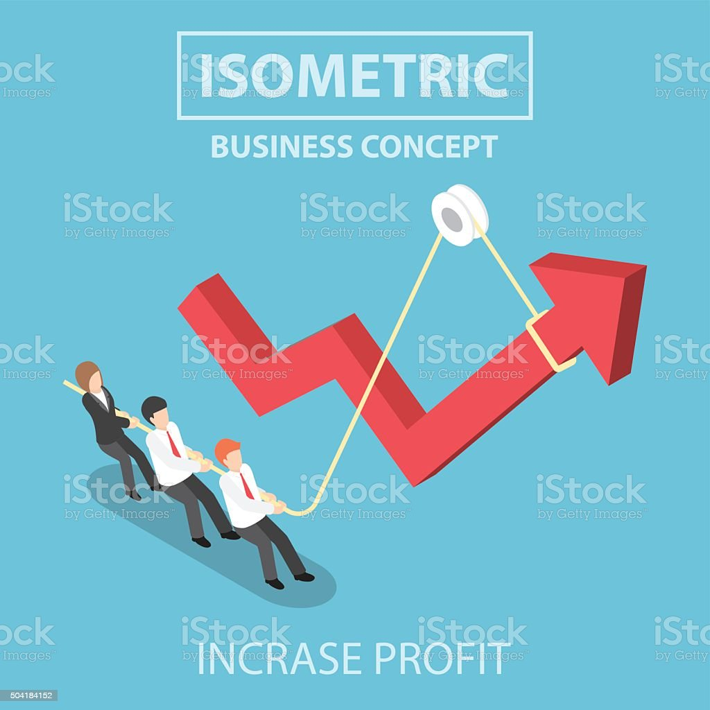 Isometric business people pulling up arrow graph by using rope vector art illustration