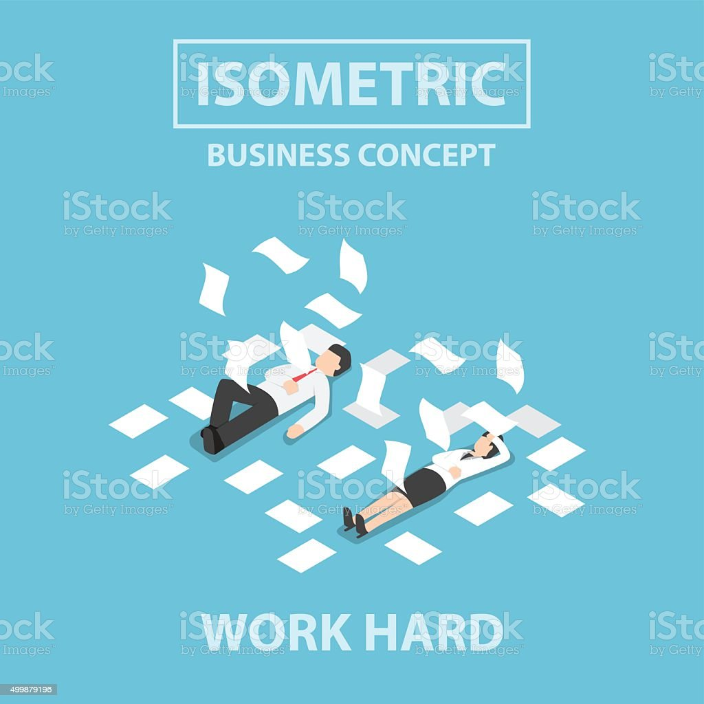 Isometric business people work hard and unconscious on the floor vector art illustration