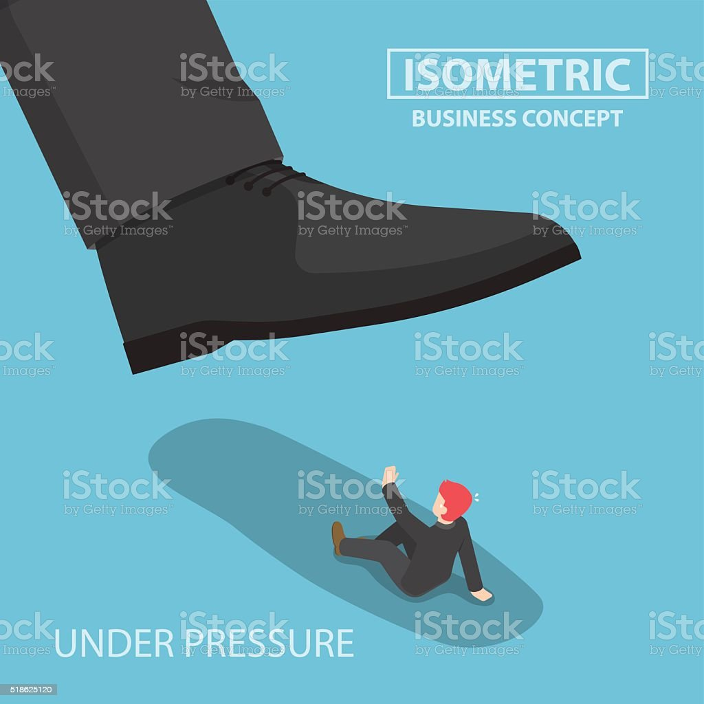 Isometric businessman being crushed by giant foot vector art illustration