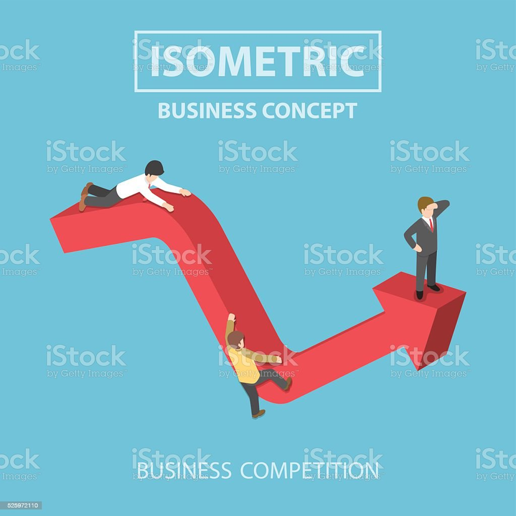 Isometric businessman climbs up to the top of graph vector art illustration