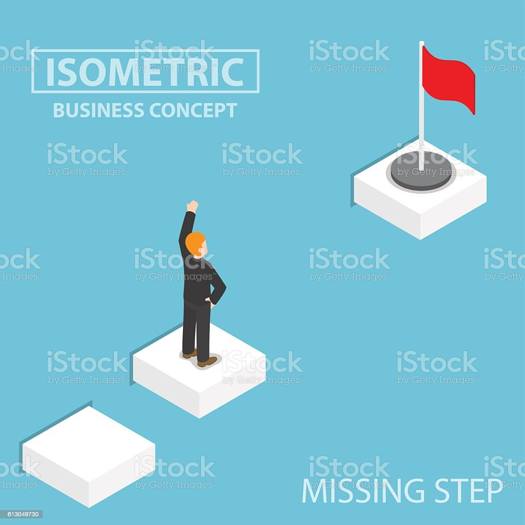 Isometric businessman facing with the missing step to success vector art illustration