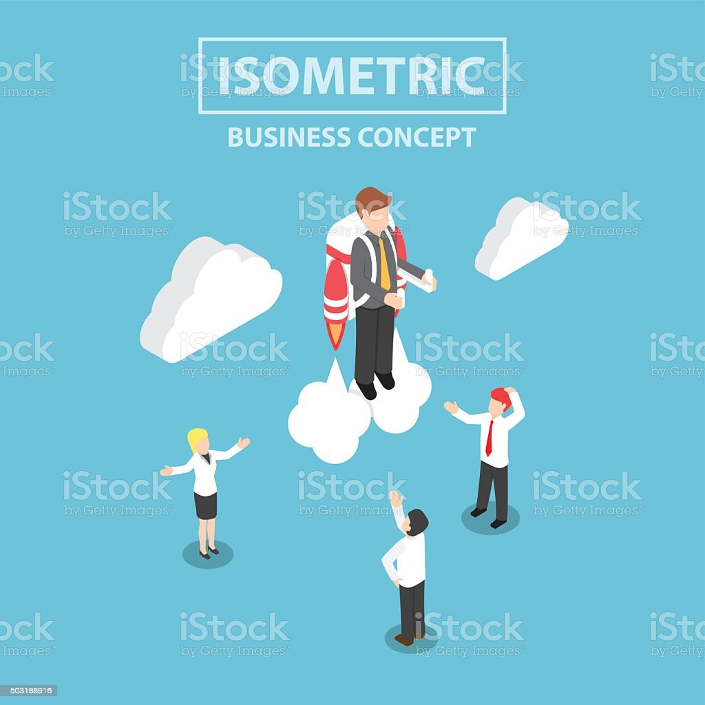 Isometric businessman flying with a jetpack vector art illustration