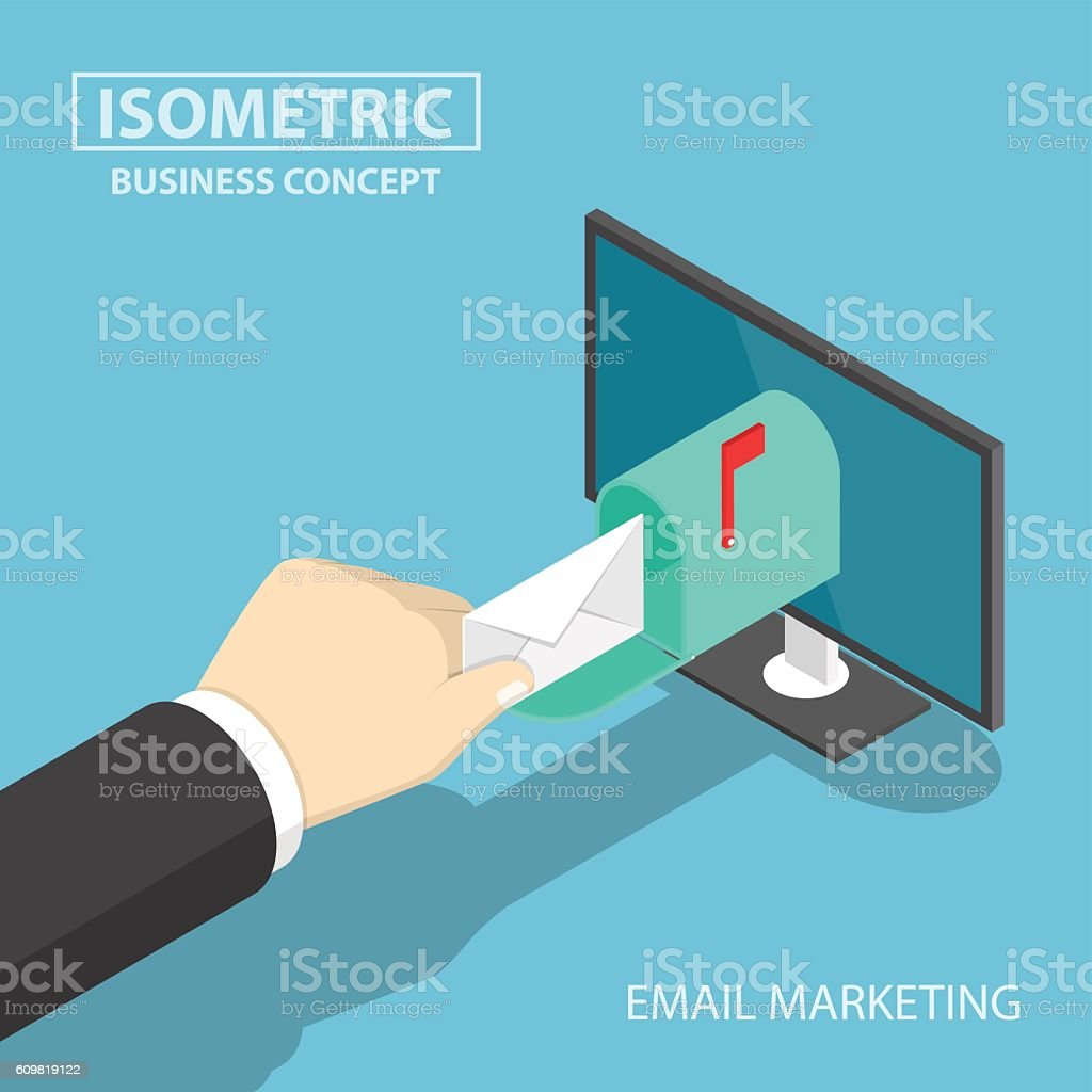 Isometric businessman hand getting mail delivery from monitor vector art illustration