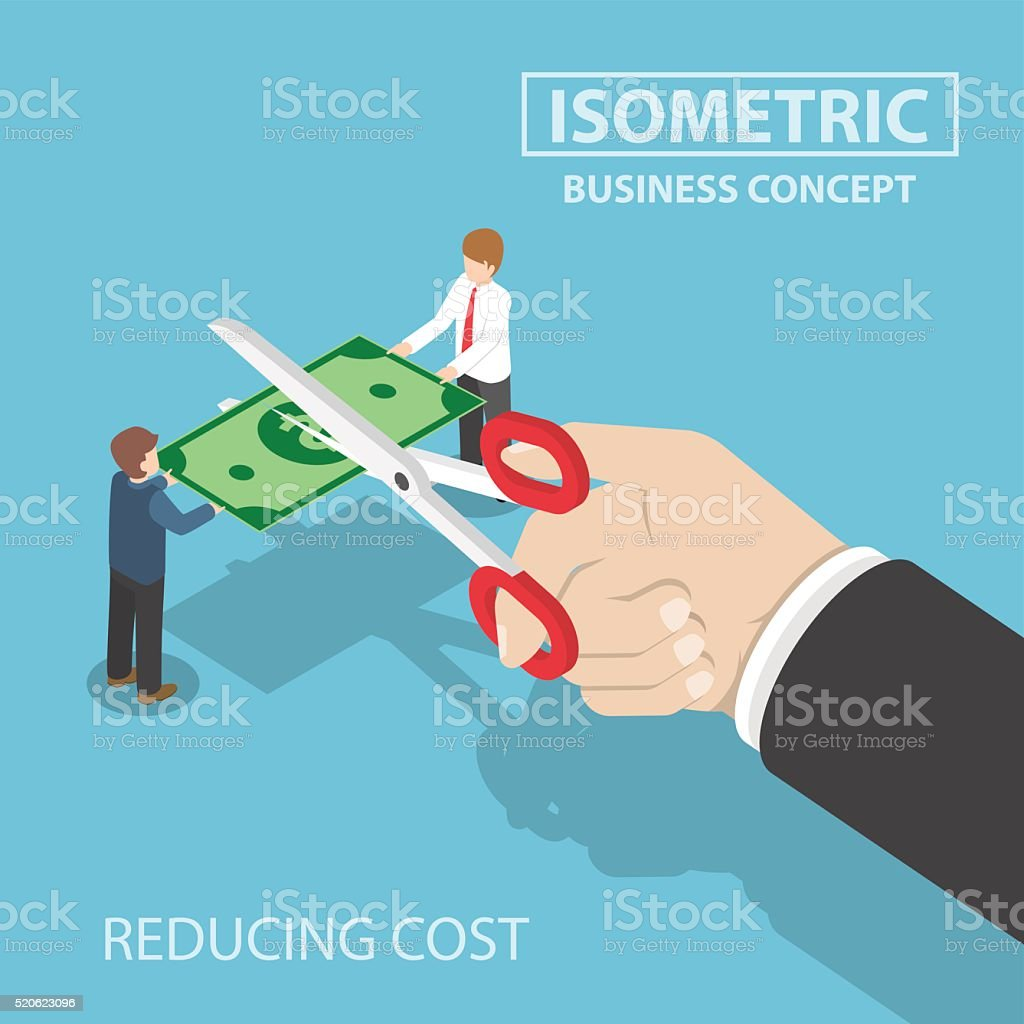 Isometric businessman hand with scissors cutting money vector art illustration
