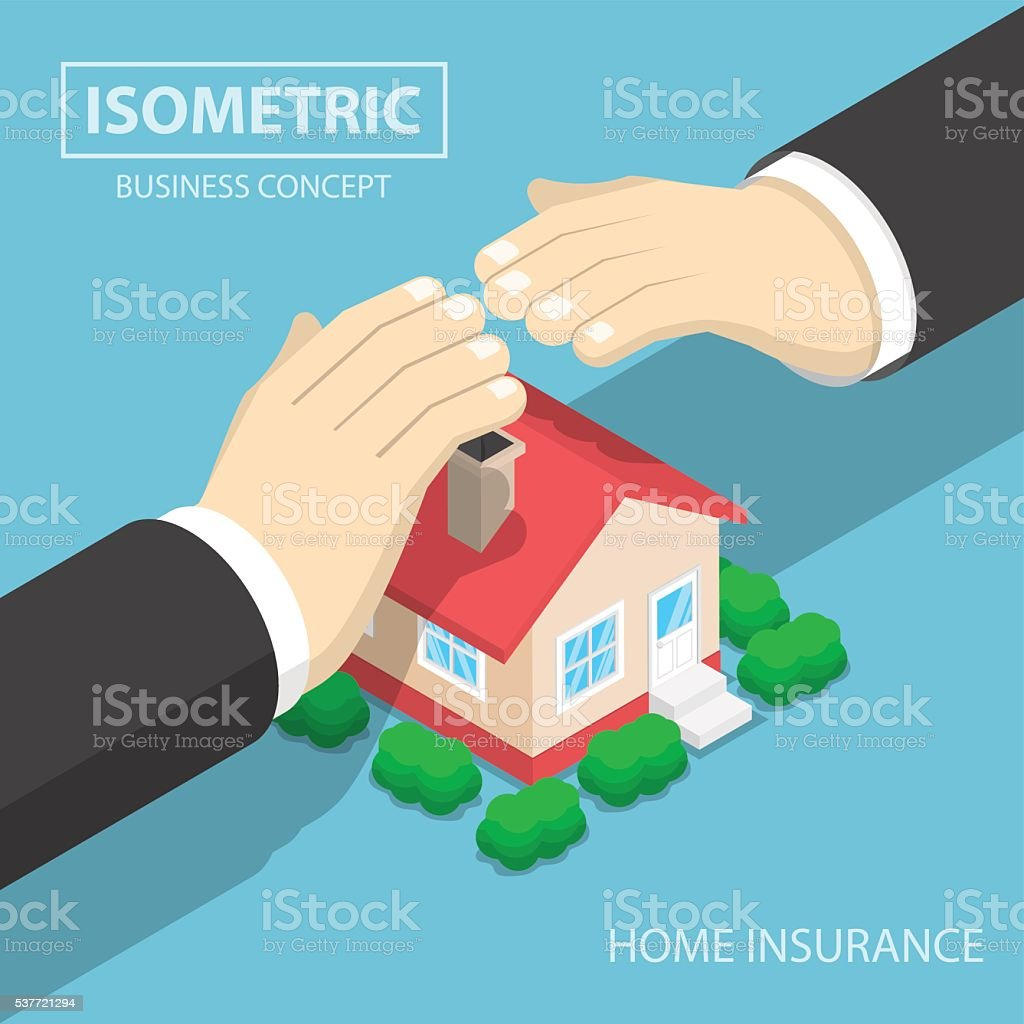 Isometric businessman hands protecting the house vector art illustration