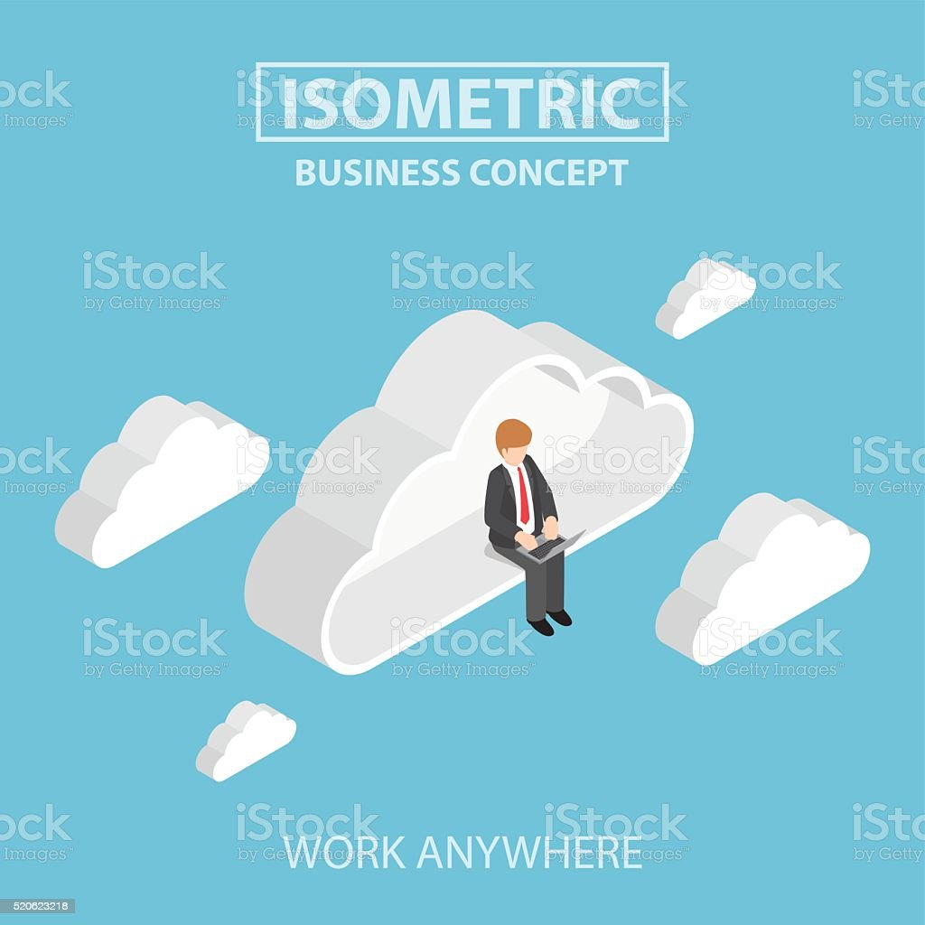 Isometric businessman sitting on cloud and working on laptop vector art illustration
