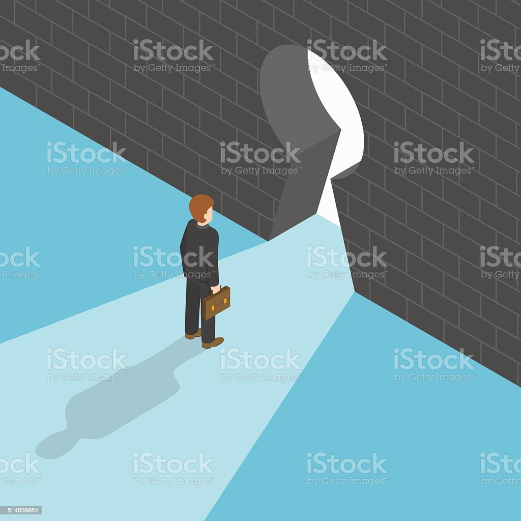 Isometric businessman standing in front of big keyhole vector art illustration