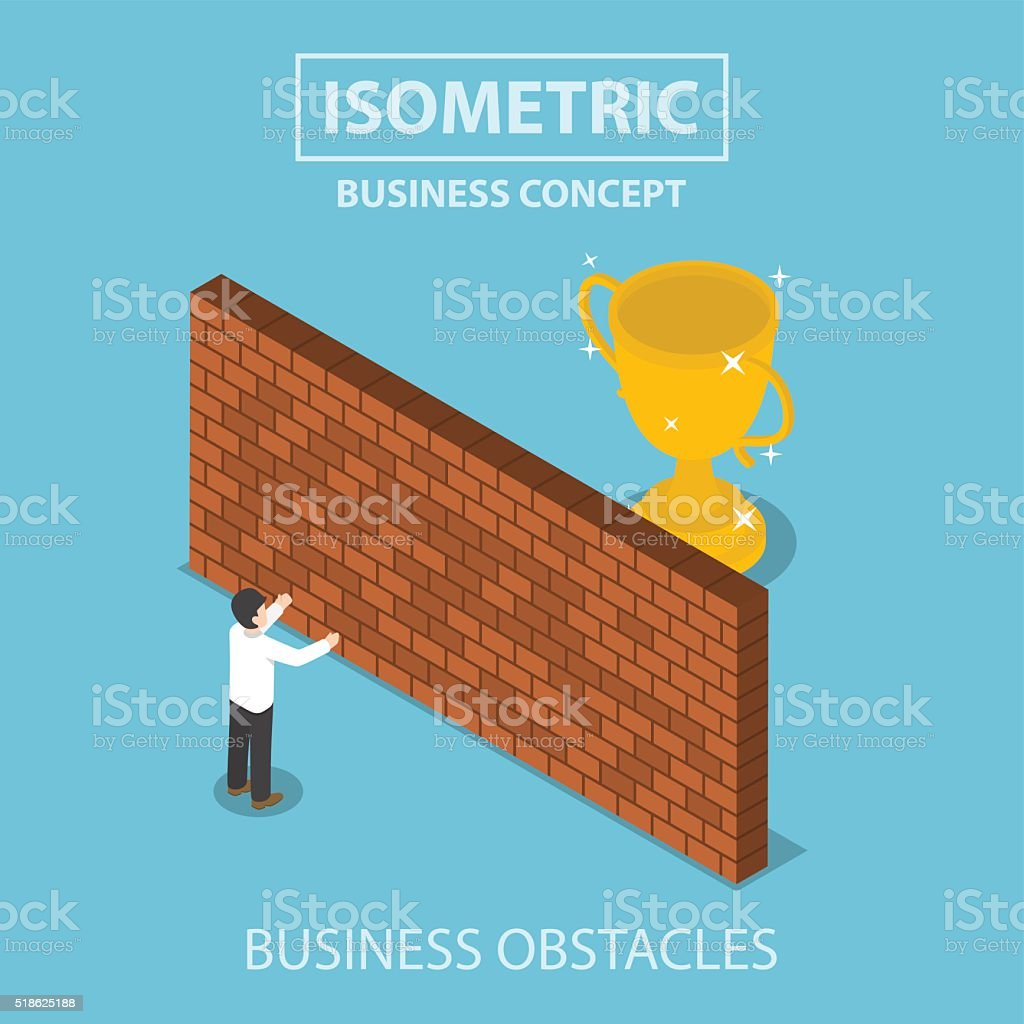Isometric businessman standing in front of brick wall with troph vector art illustration