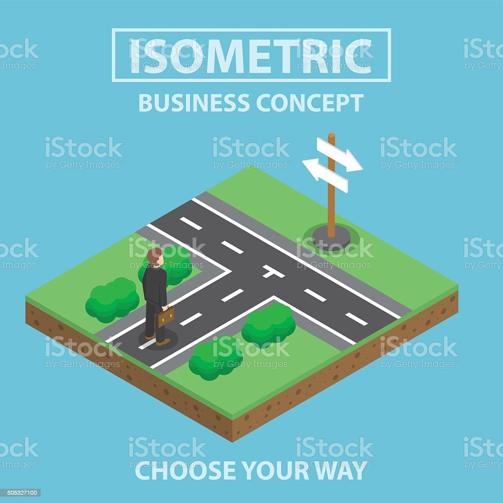 Isometric businessman standing in front of crossroad vector art illustration