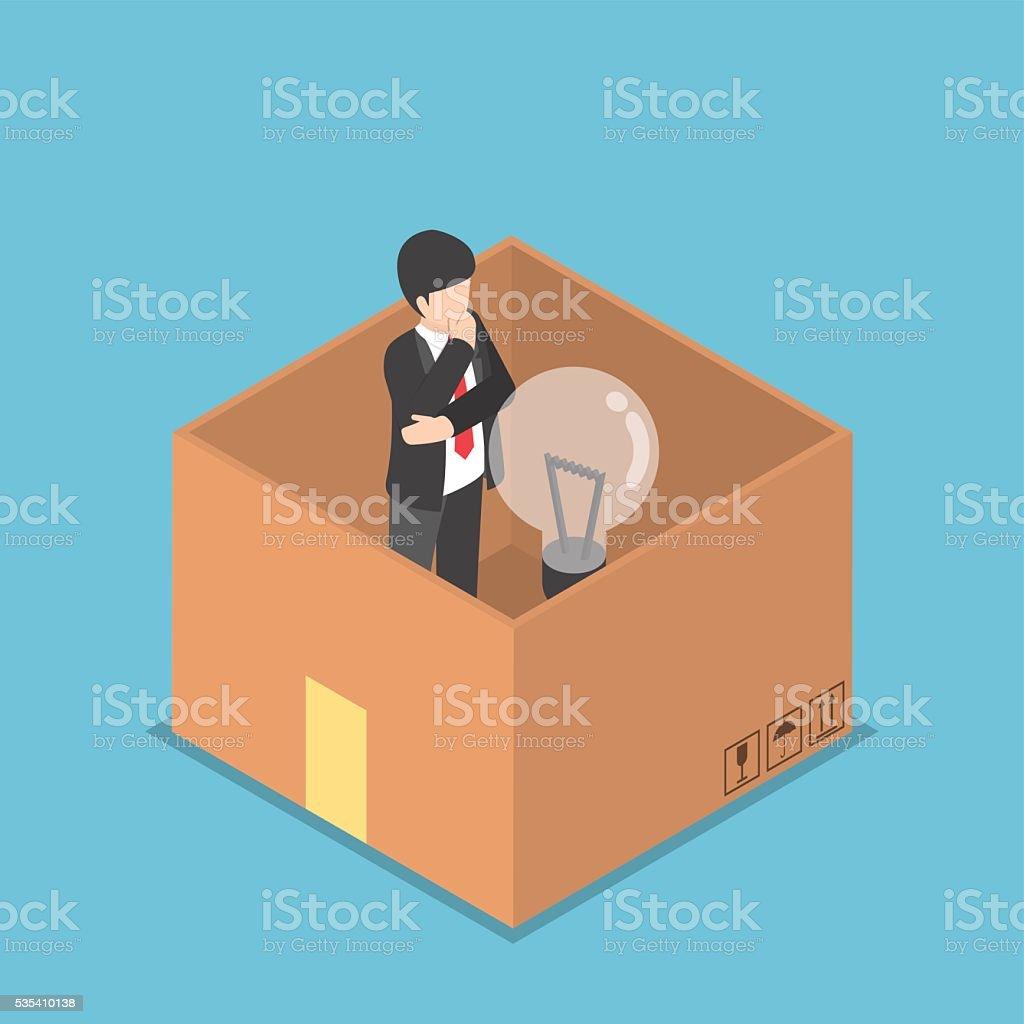 Isometric businessman think inside the box vector art illustration
