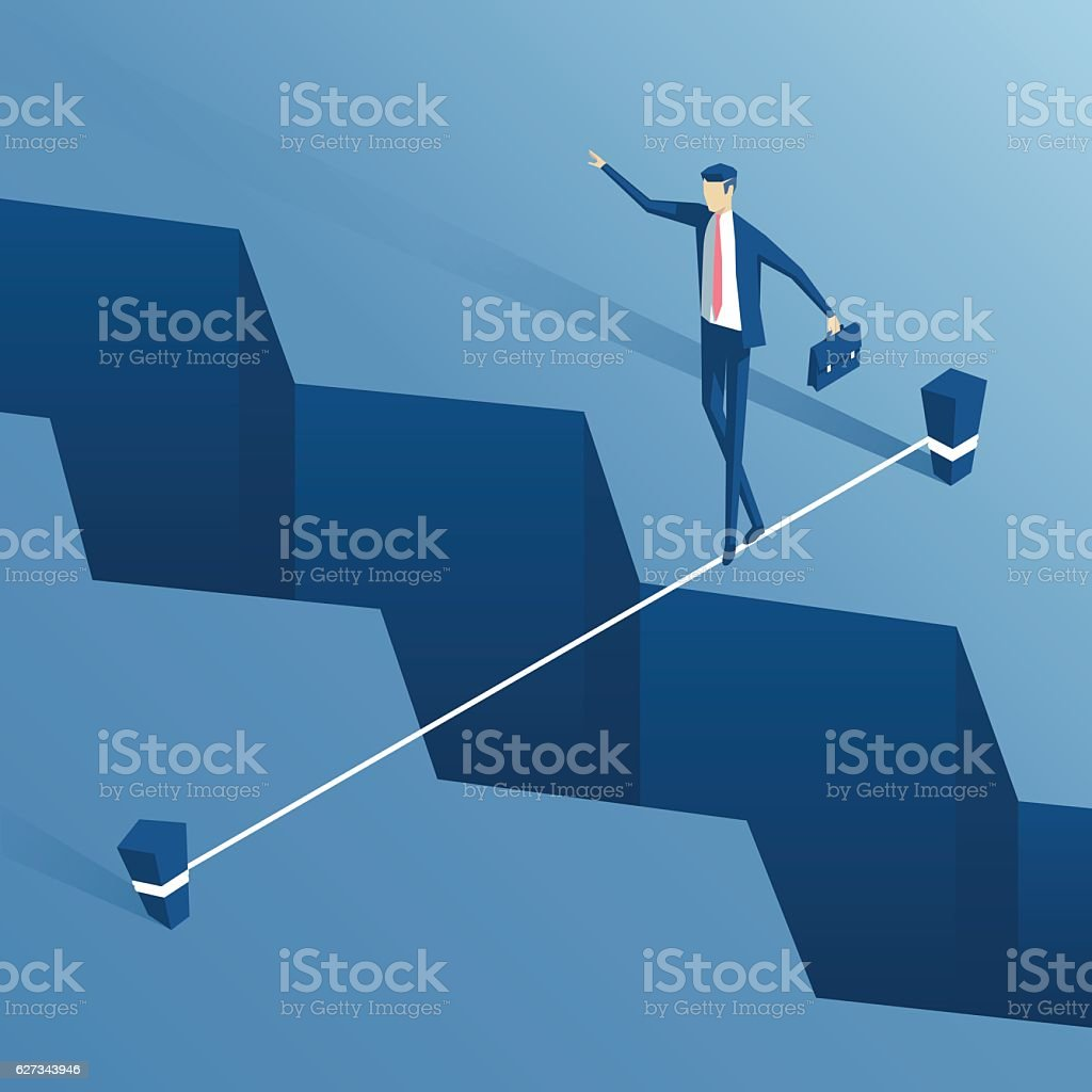 Isometric businessman tightrope walker vector art illustration