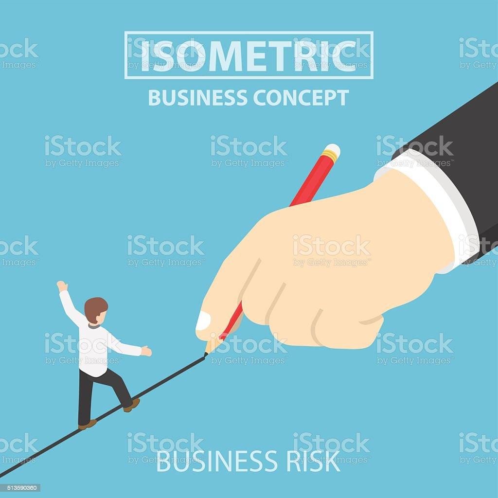 Isometric businessman walking on drawn line vector art illustration